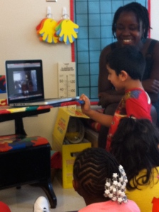 Kindergartners Skyping on 3rd Day of School